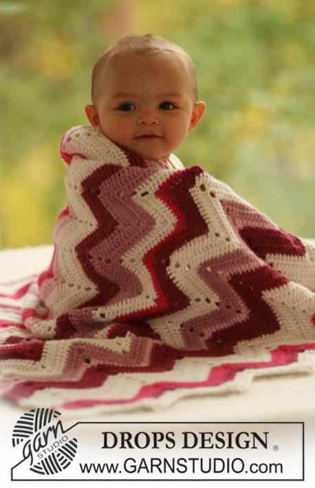 Gehaakte babydeken met zigzag patroon