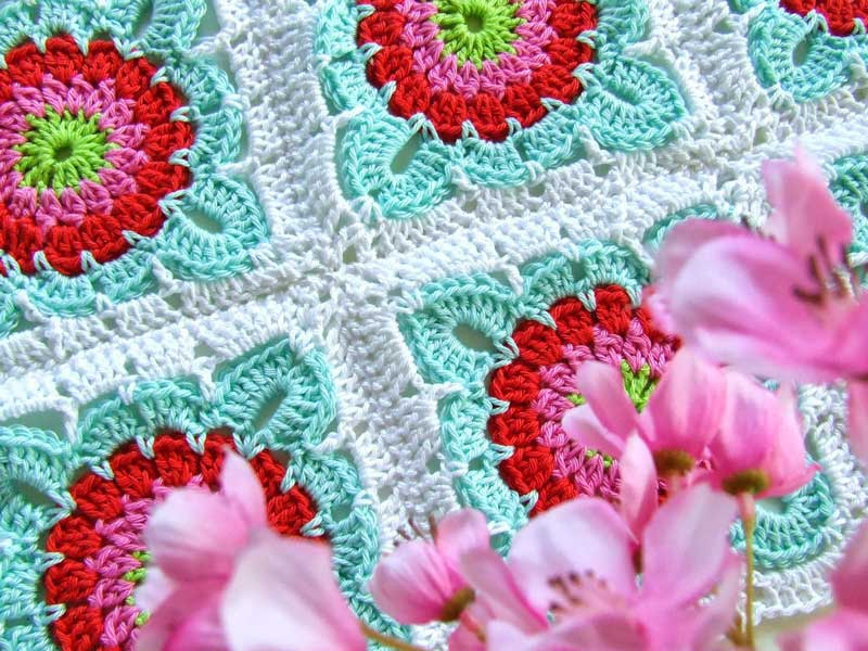 Fleurige granny square haken